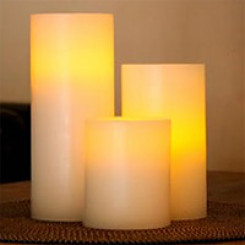 Flammeløse lys, rustikk, SafeCandle 15 x 7,5 cm cremehvit